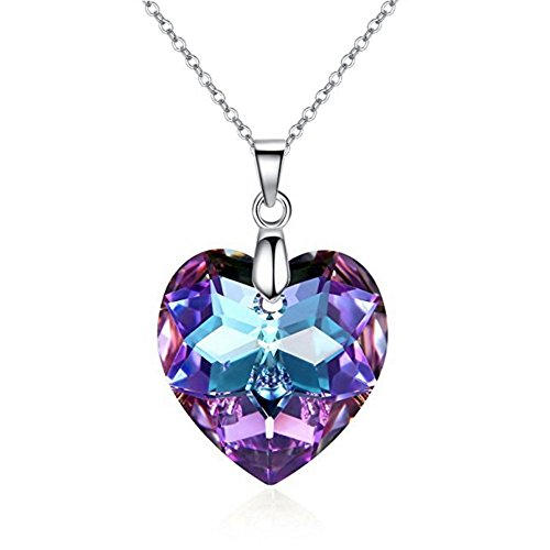 Love Heart Crystals from Swarovski Purple Pendant Necklace 18 ct White Gold Plated for Women 18