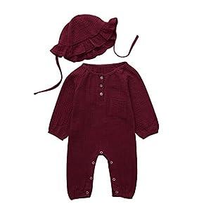 HINK 0-18 Months Girls Romper&Jumpsuit, Infant Baby Boys Girls Long Sleeve Solid Romper Jumpsuit+Hat Outfits Sets, for…
