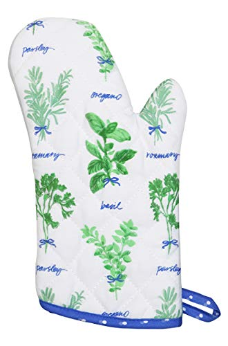 Martha Stewart Collection 100% Cotton Food Themed Oven Mitt (Hand Picked Herbs)