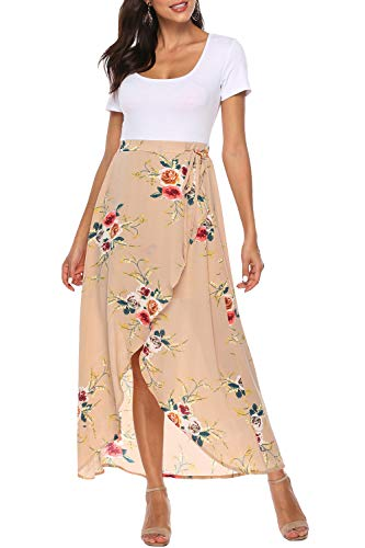 Zattcas Women's Maxi Dress Short Sleeve Empire Waist High Low Bohemian Party Maxi Dress (X-Large,White Apricot)