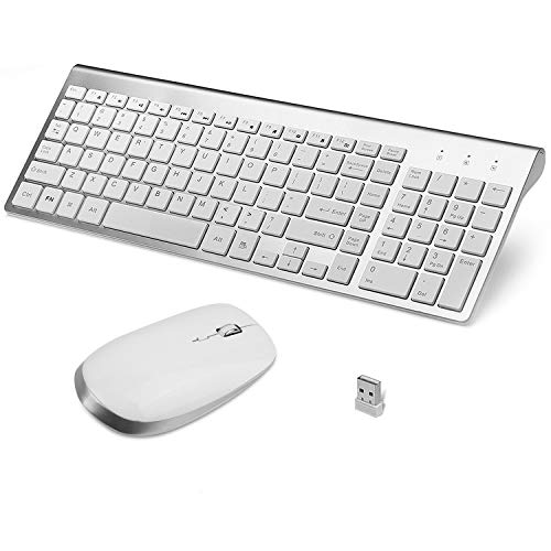Wireless Keyboard and Mouse, FENIFOX USB Ergonomic Compact Whisper Quiet QWERTY for Mac Imac Windows PC Computer Laptop Tv  (Silver and White)