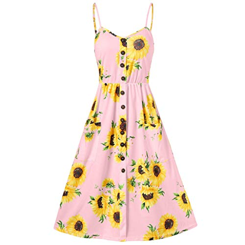 Women's Dresses-Summer Floral Bohemian Spaghetti Strap Knee Length Dress Button Down Swing Midi Dress with Pockets Pink