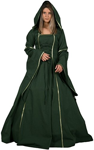 Medieval Queen Dress (MONA Medieval Women Dress by CALVINA COSTUMES - Made in TURKEY, L-Green)