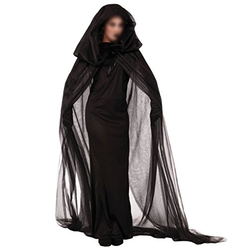 Costums For Halloween (Halloween Costumes Women Witch Fancy Dress Performance Cosplay Uniforms With Gauze Cloak Gloves Black Minzhi)