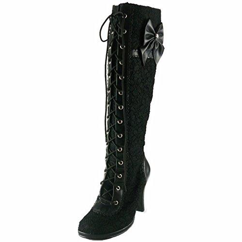 (Demonia Women's 3 3/4 Inch Heel Lolita Lace-Up Knee Boot with Mini Platform (Black Pu;10))