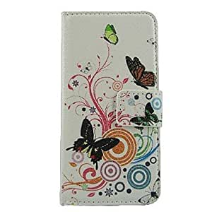 Fashionable Wallet Style Butterfly and Flowers PU Leather Full Body Case with Stand and Card Slot for iPhone 6 Phone Cases