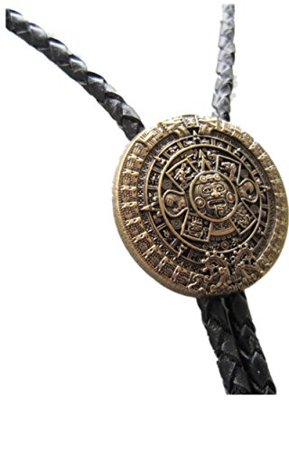 Vintage Gold Plated Aztec Calendar Wedding Bolo Tie Leather Necklace ()