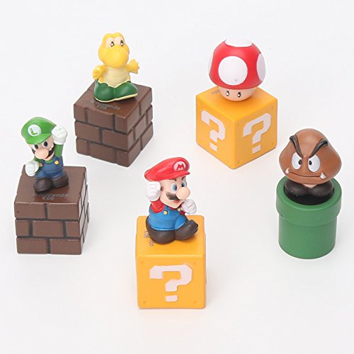 5pcs/set Super Mario Bros mario figure Luigi mushroom Goomba Toad Yoshi PVC Action Figures Toy children (Cheap Mario Plushies)