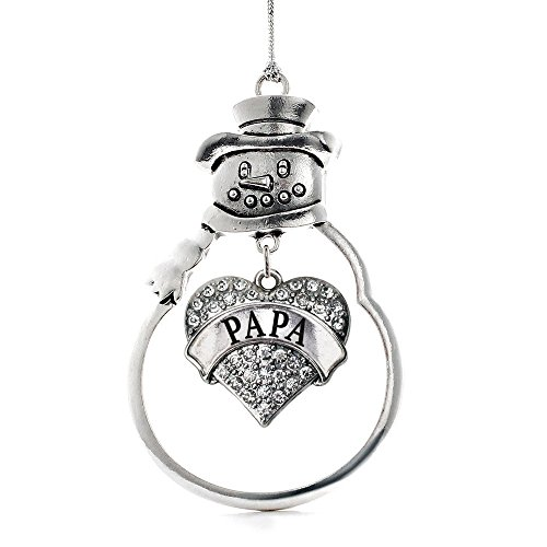 Inspired Silver Papa Pave Heart Snowman Holiday Ornament