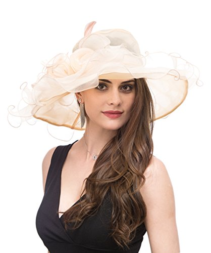 Saferin Lady Tea party Kentucky Derby Church Wedding Dress Church Hat Bridal Shower (SF4-Beige) Free size