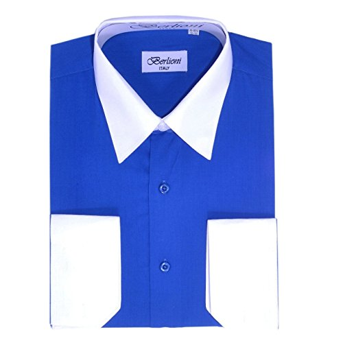 Berlioni Royal Blue - White Two Tone Mens Dress Shirt (White Shirt Ton)