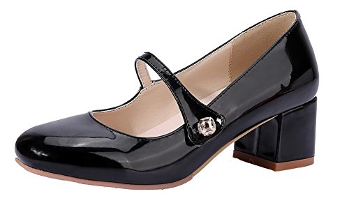 Couleur Femme L Unie Tire Chaussures Agoolar Rond 4tqpwA