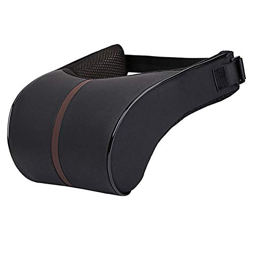(HomDSim Car Seat Neck Support Pillow,PU Soft Leather + Memory Foam,Head Support Pillow Cushion Pad for Driving Headrest Relax,with Adjustable Strap)