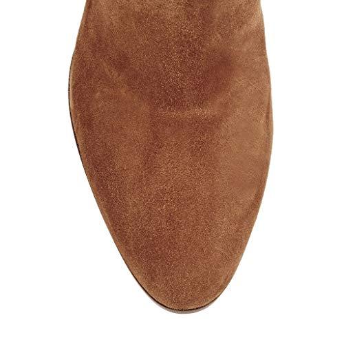 Stiefel Runden Plattform Kopfseitenreißverschluss Frauen Hohe Kniestiefel Hochhackiger Dicker der Wasserdichte AxzPUqUw