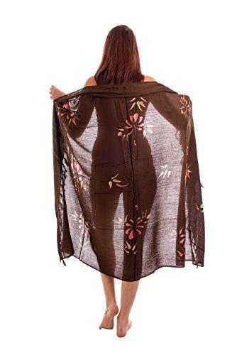 Sarong, toalla de playa, chal, hecho a mano, opaco, aprox. 170x 110cm, varios colores Braun Blumen Muster