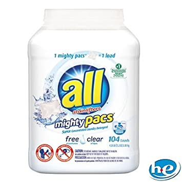 All Free & Clear Mighty Pacs Laundry Detergent, 4 58 lbs