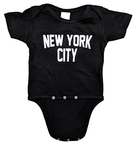 New York City Baby Bodysuit Screen Printed Soft Cotton Snapsuit (Black, Newborn (0m))