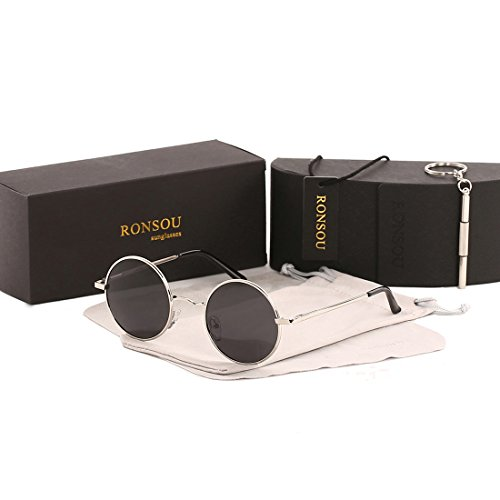 Ronsou Lennon Style Vintage Round Polarized Sunglasses Eyewear with Mirrored or Plain Lens silver frame/grey lens