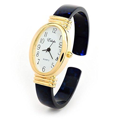 Dark Blue Tortoise Gold Acrylic Band Oval Face Women's Bangle Cuff ()