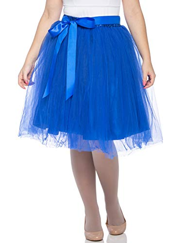 Dancina Women's Knee Length Tutu A Line Layered Tulle Skirt Royal Blue Regular (Size 2-18)