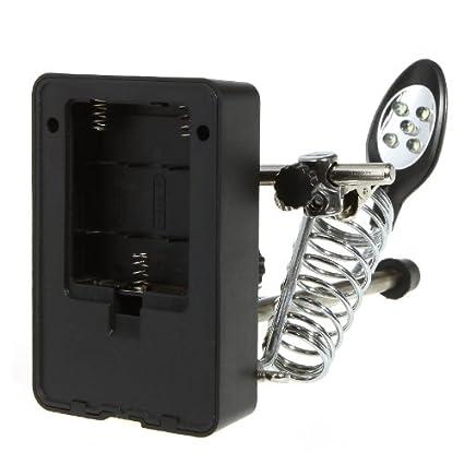 KKmoon Lente de aumento con luz LED 2.5 x 7,5 x 10 x LED Light Magnifier aiutando mano ausiliaria Pinza cocodrilo Clip Stand, color A: Amazon.es: ...