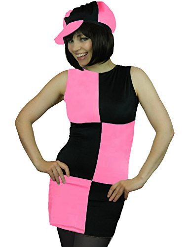 - Yummy Bee Womens Disco 60s 70s MOD Costume 1960s Cap + Tights Pink Size 4