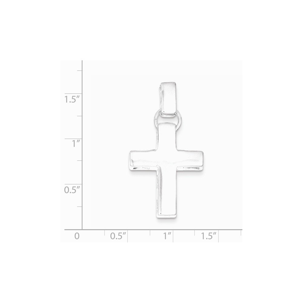 front only Sterling Silver Polished Open back Engravable Modern Squared Cross Pendant