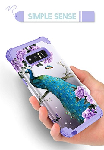 Samsung Galaxy Note 8 case,PIXIU Heavy Duty Protection Shock-Absorption&Anti-Scratch Hybrid Dual-Layer phone cases for Samsung Galaxy Note 8 2017 Realeased (peafowl /Purple) Photo #2