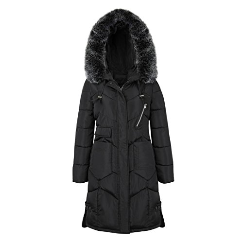 (Kranchungel Women's Thicken Oversized Hooded Long Faux Fur Trim Winter Coat Warm Jacket 3X-Large)