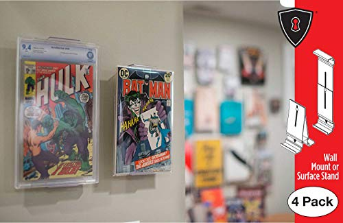 Comic Mount Comic Book Shelf Stand and Wall Mount, Invisible and Adjustable, 4 Pack -