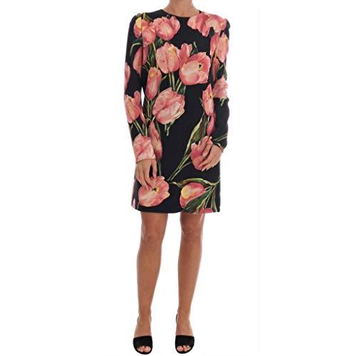 Dolce Dress Gabbana Pink - Dolce & Gabbana Black Pink Tulips Wool Sheath Dress
