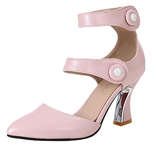 Pumps Shoes Women,Kansopa Chunky Mid Heel Shoes Closed Pointed Toe Ankle Buckle Leather Solid Color Fashion Elegant Pink