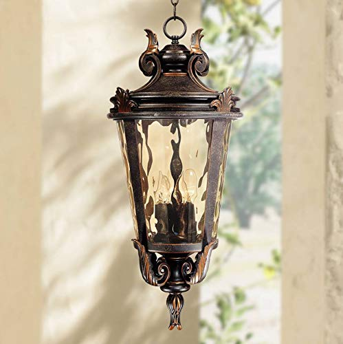 Casa Marseille Traditional Outdoor Light Hanging Veranda Bronze Scroll 26 1/4