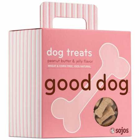 Sojos Good Dog Crunchy Natural Dog Treats, Peanut Butter & Jelly, 8-Ounce Box ()