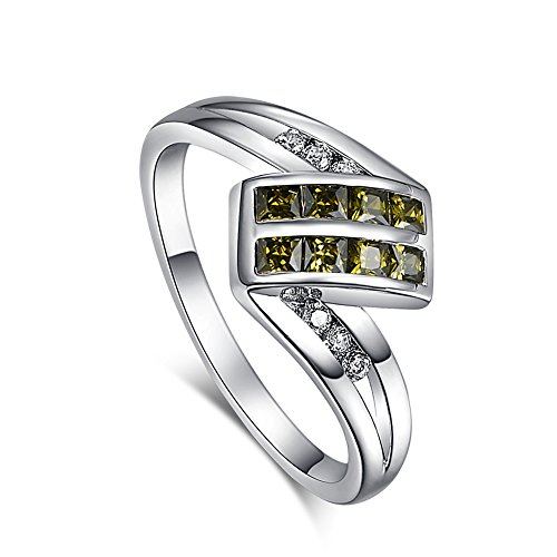[Psiroy 925 Sterling Silver Elegant Peridot August Birthstone Filled Ring for Women] (Vintage Costume Jewelry Images)