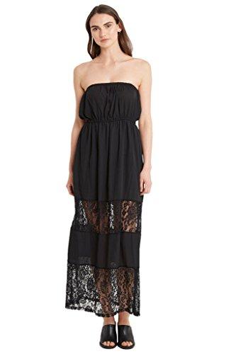 Sheath Column Strapless (Poshsquare Women's Beach Chiffon Floral Lace Trim Tube Maxi Strapless Casual Cover Up Dress USA Black M)