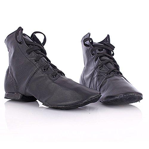 Azbro Mujer Zapato de Baile Cordón-arriba Jazz Cima Alta Negro
