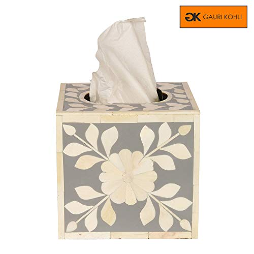 GAURI KOHLI Beautiful Hand Crafted Bone Inlay Decorative Tissue Box Cover in Ocean Grey Color (Large Size | 6