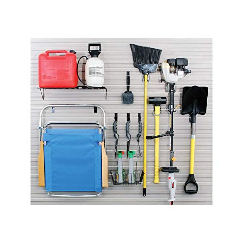 Slotwall Accessory - Garage Accessory Kit with 13 Hooks, Basket and Shelf for Slatwall Panel Organization