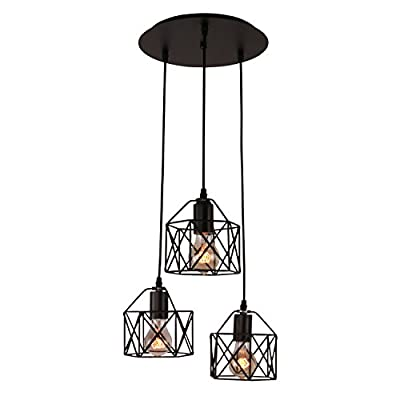 Unitary Brand Rustic Black Metal Cage Shade Dining Room Multi Pendant Light with 3 E26 Bulb Sockets 120W Painted Finish