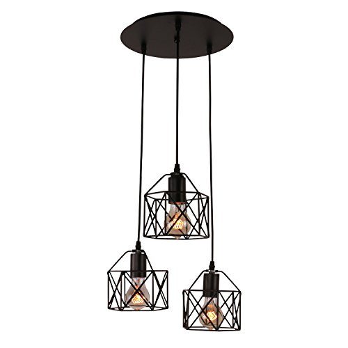 Unitary Brand Rustic Black Metal Cage Shade Dining Room Multi Pendant Light with 3 E26 Bulb Sockets 120W Painted - Light Hanging 3 Bulb