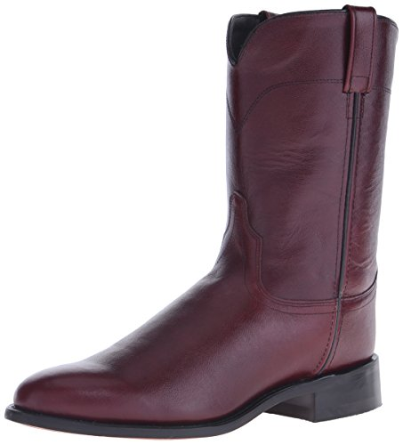Old West Men's Corona Calf Leather Roper Toe Western Cowboy Boots - Black Cherry