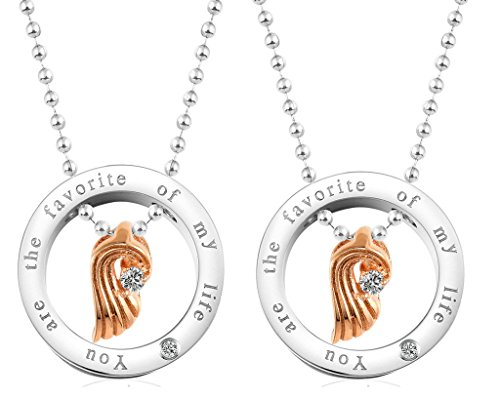 Daesar Hers & Hers Necklace Set Couples Pendant Necklace Stainless Steel Angel Wing Matching - Make Cost Video Game To