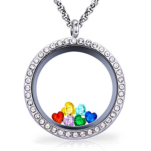 Ronglai Jewelry Floating Locket Pendant Necklace Heart Crystal Family Tree of Life Necklace All Birthstone Charms Include (BFF CZ ()
