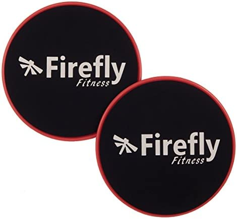 Firefly Fitness Core Sliders Glide Discs. Set of 2. Dual Sided for Carpet and Hardwood Floors. Low Impact Full Body Workout Equipment.