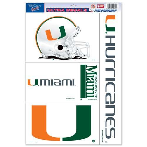 WinCraft Miami Hurricanes Ultra Decal Set - 11'' X 17''
