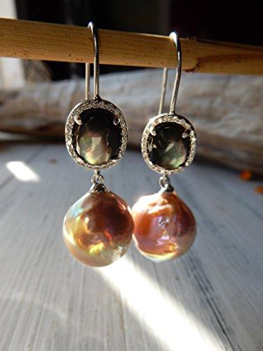 Kasumi like Pearl Earrings, Black Mother of Pearl, Edison Pearl, 15mm, Silver Earrings, Purple, Green, Fishhooks