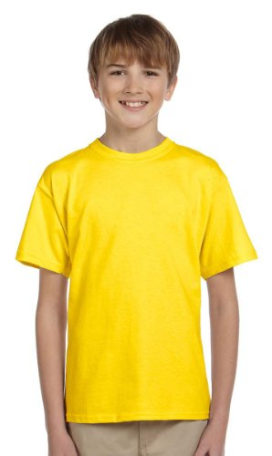 Fruit of the Loom Heavyweight Youth Short Sleeve T-Shirt - YELLOW - (Fruit Of The Loom Heavyweight T-shirt)