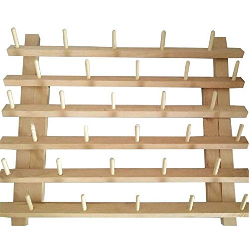 Wooden 30 Spool Thread Rack Holder,Spool Cone Bobbins Spools Stand, Thread Organiser, Wall Mount Yarn Storage Spool Holder, Machine Sewing Embroidery Quilting Storage Holder,Sewing Craft ()