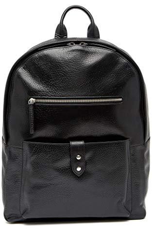 Cole Haan Saunders Black Leather Zip Top Backpack (Cole Haan Medium Zip)